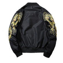 NEW  Men Autumn Parka Winter Warm Jacket Embroidery Dragon Flight Bomber Jacket coat Male Padded Cotton Motorcycle Outwear