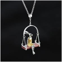 Auténtica plata de Ley 925 Colgantes de Plata Hecho A Mano Joyería de Las Mujeres Exclusivas Muy Singular Diseño Señorita Conejo Colgante de Concha Natural
