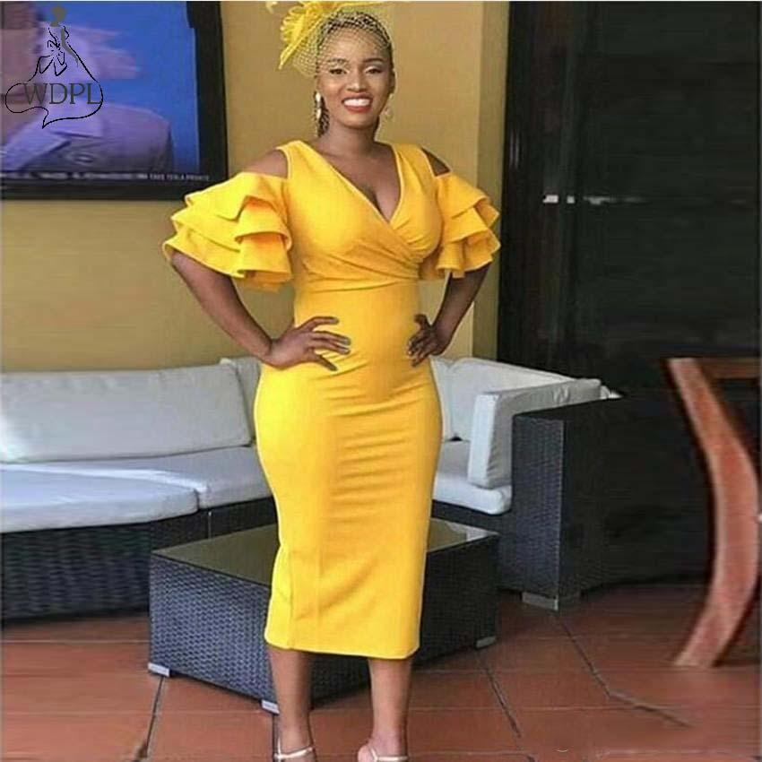 Thé longueur jaune robes de Cocktail 2019 sirène à volants à plusieurs niveaux manches courtes col en V profond robes de soirée robe de bal africaine