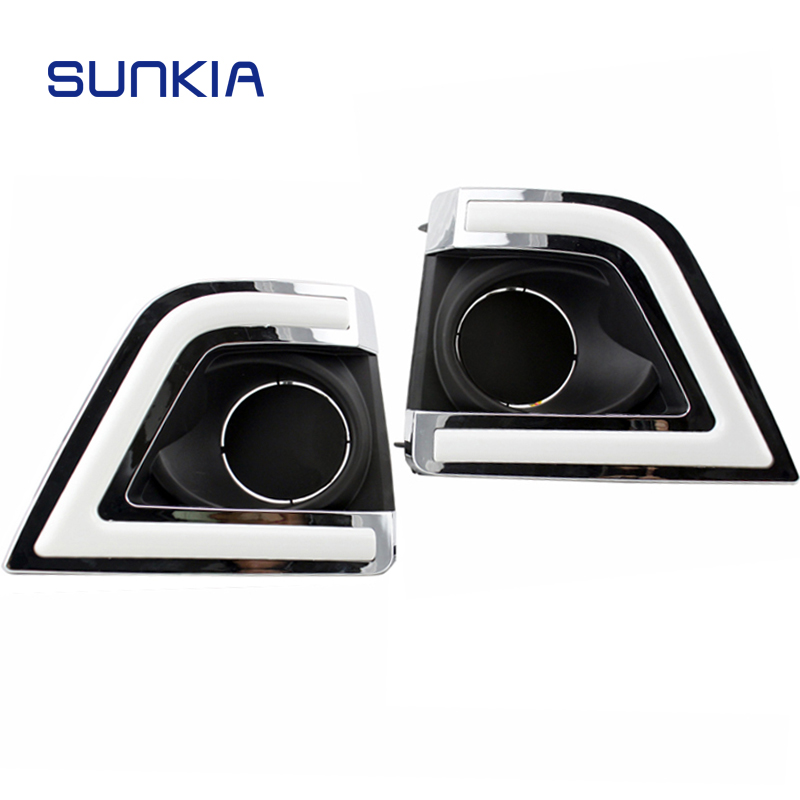 SUNKIA Car Styling LED DRL Daytime Running Lights for Toyota Corolla 2013-2015 Day Lamp with Turn Signal Dimmed Function Relay 2pcs new style led drl car daylight daytime running lights for toyota camry aurion 2012 2013 2014 with turn signal lamp function