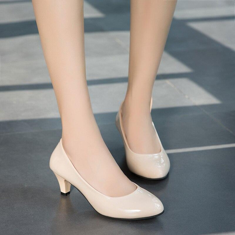 heels women 2018 New Fashion high heels women pumps mid-heel classic nude beige sexy prom wedding dress shoes
