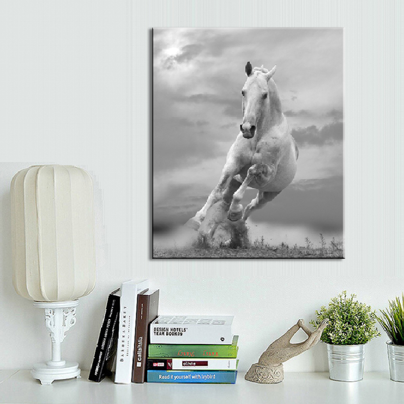 1 PCS Animal Canvas Painting Gray Running Horse Wall Art Prints On Modern Animals Picture For Living Room Decor