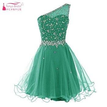 0e70ad484bda7 Nane Yeşil Tam Kristal Mezuniyet Elbiseleri 2018 Kısa Mini Tül Siyah  illusion Geri Kokteyl Elbisesi vestido de festa DQG077