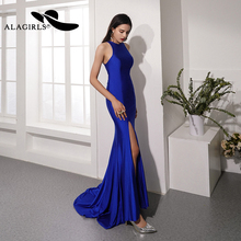 цена Alagirls 2019 New Arrival Mermaid Evening Dress O-Neck Evening Gown Elegant Long Party dress Sexy High Slit Prom Dresses