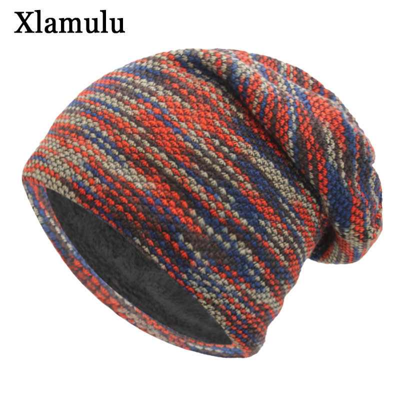 Xlamulu Knitted Hat Winter Hats For Women Men Skullies Beanies Mask Striped Beanie Gorros Bonnet Warm Baggy Soft Thick Hat Caps