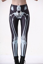 Fashion Women X-ray Skeleton on Black Print Leggings Slim Fit Thin Elastic Polyester Party Pants Casual Trousers Drop Shipping