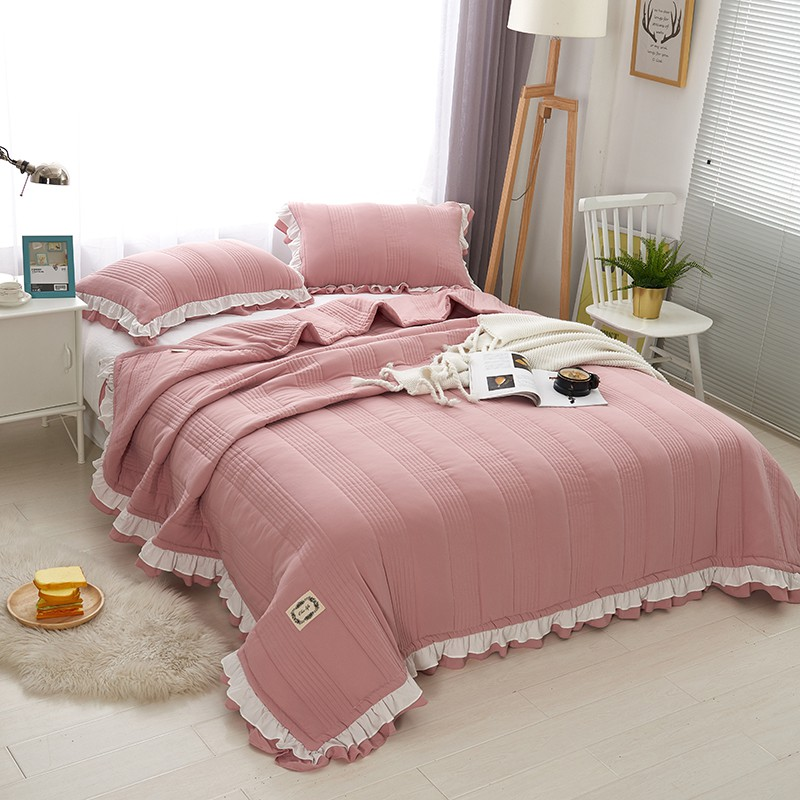 New Korean Style Pink Gray Purple Washed Cotton Comfortable Ruffle Blanket Tatami Mat Bedspread Bed Sheet/Linen Pillowcases 3pcs