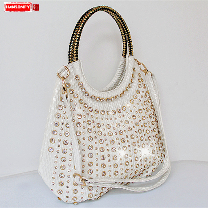 2019 luxury fashion diamond women handbags wild patent leather shoulder bag slung white rhinestone large capacity