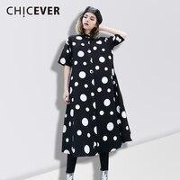 CHICEVER Spring Women Dress Shirt Loose Black Short Sleeve Dot Casual Women S Dresses Of The
