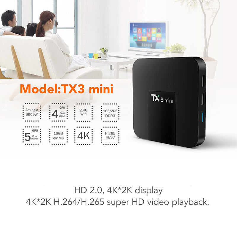 Tanix TX3 Mini TV Box Android 7.1 Amlogic S905W 2.4GHz WiFi Smart TX3 Mini Set Top Box 1GB/8GB 2GB/16GB Support 4K Media Player