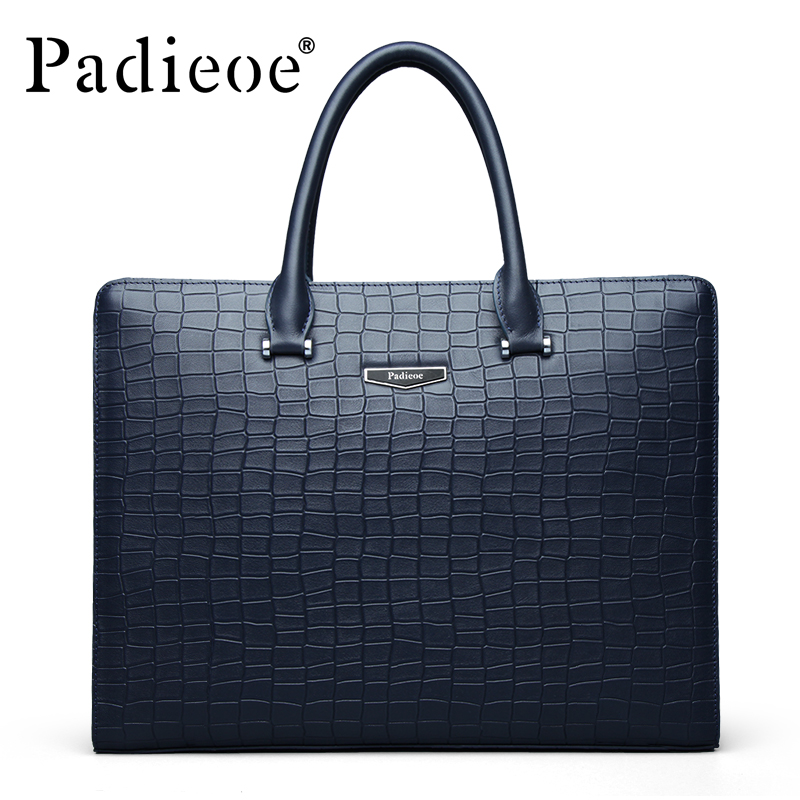 Padieoe 100 % Genuine Leather Men's Briefcase Famous Brand Tote Bag High Quality Messenger Bags Fashion Business Men Briefcase padieoe men s genuine leather briefcase famous brand business cowhide leather men messenger bag casual handbags shoulder bags