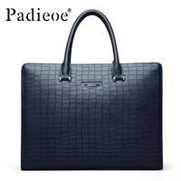 Padieoe 100 Genuine Leather Men S Briefcase Famous Brand Tote Bag High Quality Messenger Bags Fashion
