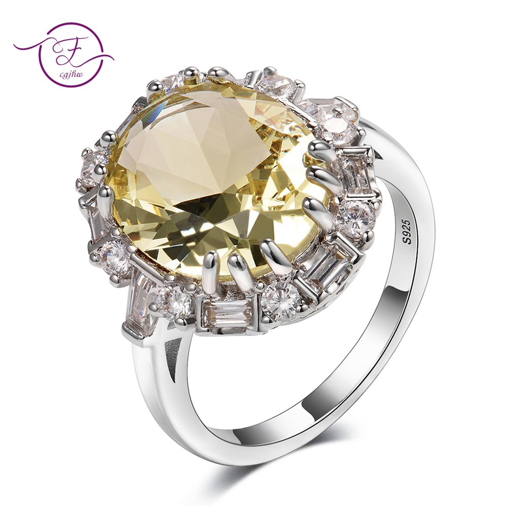 Real 925 Sterling Silver Light Yellow Gemstone Rings For Women Princess Party Wedding Engagement Gift Top Brand Fine Jewelry