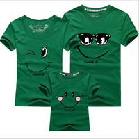 New 1pc Summer T Shirt Cartoon Smile Family Look Outfits Father Mother Daughter Son Family Matching