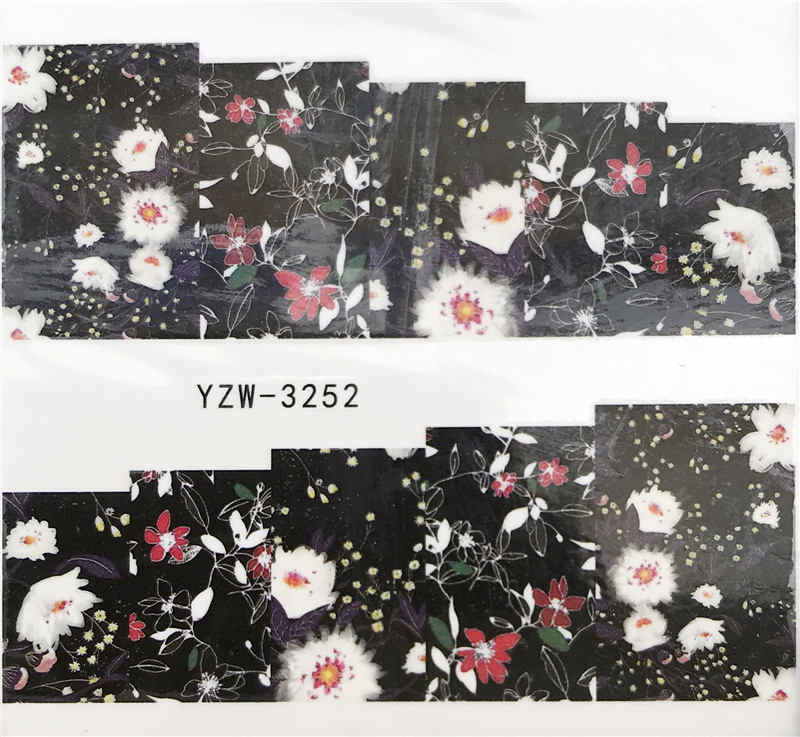 WUF 1 PC Leopard / Black Rose / Flower Water Transfer Nail Art Sticker Beauty Decal Nails Art Decorations