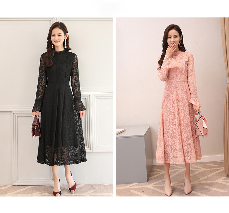 R&H Elegant Women Vintage Dress Women A-line Spring 2018 New Pleated Brand Big Size Black Pink Floral Lace Dress Fashion stels navigator 570 2015