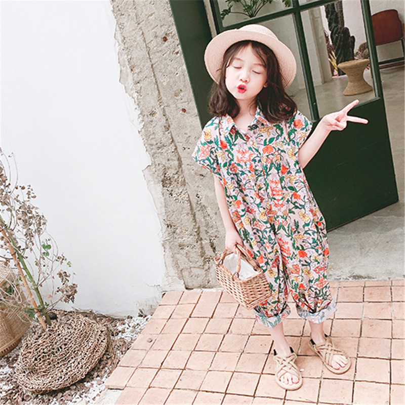 Girl Cotton Jumpsuit Shredded Flower Korean Kids Loose Jumpsuit Clothes 3-8 Yrs Old Children Clothing Short Sleeve Baby   Rompers