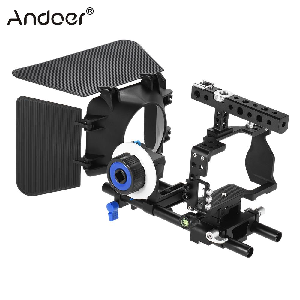 bilder für Andoer Professionelle Video Kamera Käfig Rig Kit Film, Der System w/15mm Stange Folgen Fokus FF Matte Box für Sony ILDC Kamera