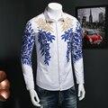 2017 весна мужская досуг мода бизнес рубашки с длинным рукавом мужская золотой нитью Цветочный узор с длинным рукавом рубашка Размер M-5XL