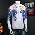 2017 spring Men's leisure fashion business long sleeve shirts Men's gold thread pattern Flower long sleeve shirt Size M-5XL