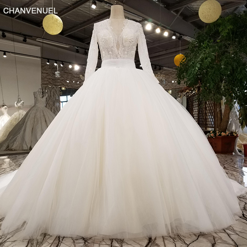 Wedding Gown Patterns With Sleeves: LS27790 1 2018 New Bridal Gown V Neck Lace Fashion Flower