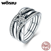 WOSTU 2017 Hot Sale Real 925 Sterling Silver Delicate Sentiments Stars Finger Rings For Women Jewelry Gift CQR050