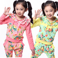 2017 Spring Children girls long-sleeved beautiful two piece suits kid girls Princess Floral clothing set