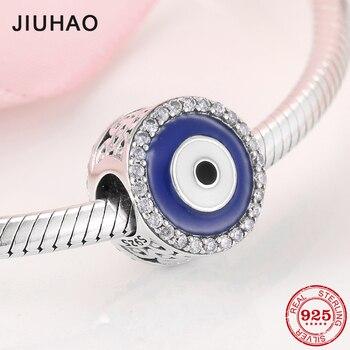 5d0e3948f7c8 Plata de Ley 925 de moda colorido azul y blanco esmalte ojo CZ Beads Fit  Original de la pulsera del encanto de Pandora joyería 2019