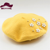 Winter Hats For Women Berets Knitting Wool Beret Candy Color Beret Hats Embroidered Flower Applique Hats