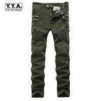 Fashion Motor Biker Skinny Mens Pants Zipper Pleated Cargo Pants Army Green Slim Fit Male Stretchy
