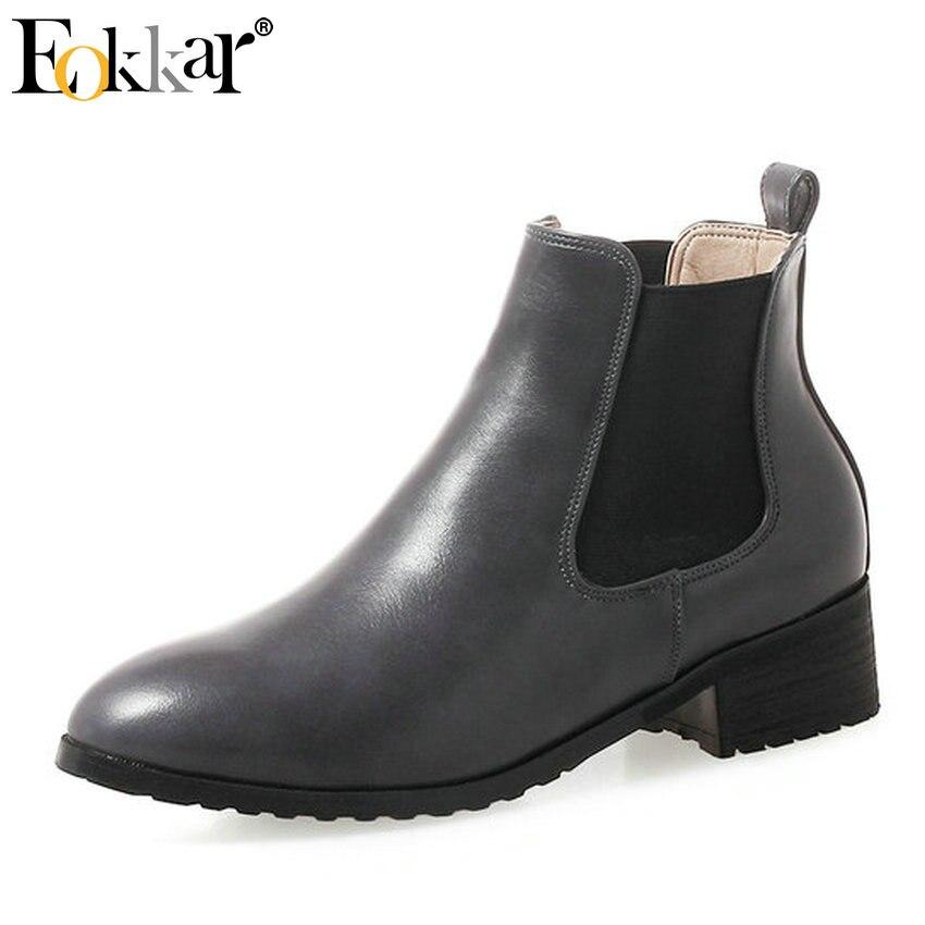 Eokkar/2019 г. черные женские ботинки модные зимние ботинки без застежки повседневные женские ботинки из PU искусственной кожи на квадратном каблуке с круглым носком размеры 34 43