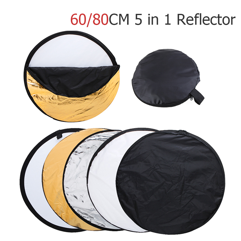Ulanzi 5 in 1 Portable Collapsible Light Round Photography Reflector with Carrying Bag for Studio Disc Photographic Accessories