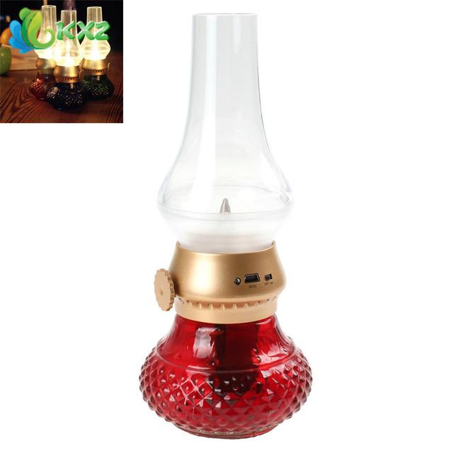 Red Retro Clássico Golpe Lâmpada LED Recarregável USB Sopro Controle Querosene Vela Acrílico Luz Da Noite