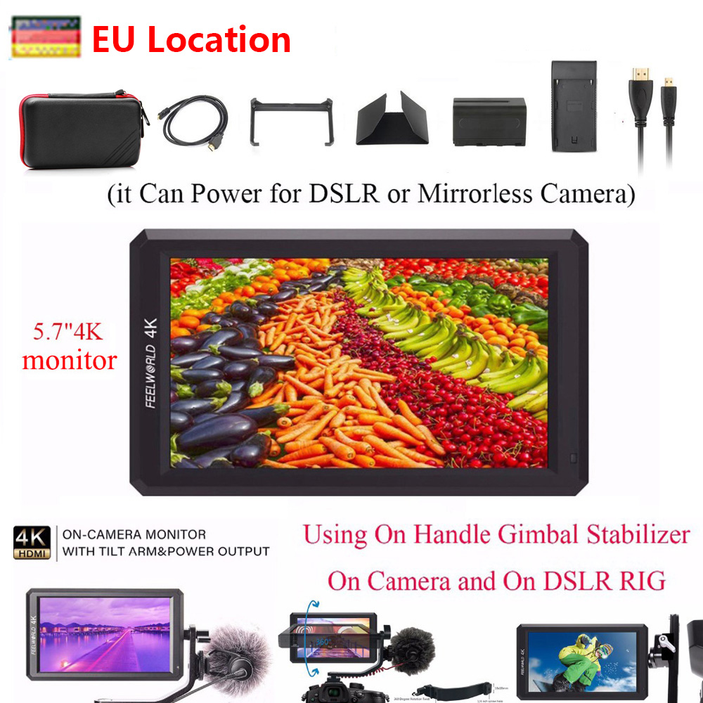 Feelworld F6 5.7 IPS Camera Monitor 1920X1080 4K HDMI Monitoring DSLR Monitor for DSLR/Mirrorless CameraFeelworld F6 5.7 IPS Camera Monitor 1920X1080 4K HDMI Monitoring DSLR Monitor for DSLR/Mirrorless Camera