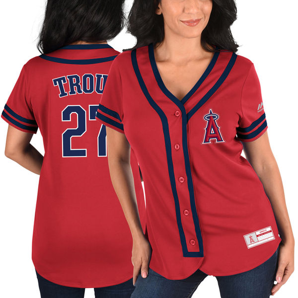 designer fashion 4acb4 66c85 MLB Women's Los Angeles Angels Mike Trout Red/Navy Absolute ...
