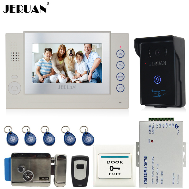 JERUAN 7 inch video door phone intercom system video recording photo taking REID Access Waterproof COMS Camera +Electric Lock jeruan 8 inch video door phone high definition mini camera metal panel with video recording and photo storage function