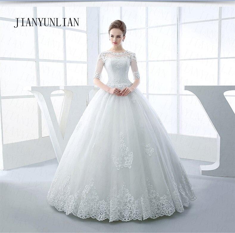 Half Sleeve Wedding Dresses 2019 New Mrs Win Luxury Lace Embroidery Ball Gown Wedding Dress Can Custom Made Vestido De Noiva F