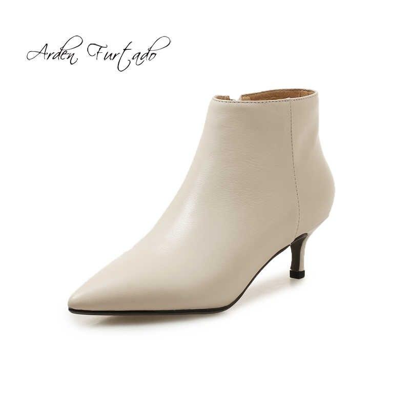 42c140102c7 Arden Furtado 2018 autumn winter stilettos lower heels 4cm ladies female  beige fashion ankle boots women s