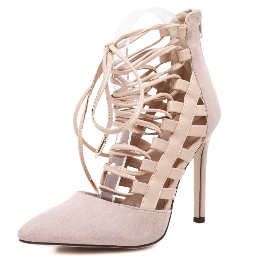 Brand Pointed Toe sexy New women's high heels Gladiator Hollow Cut-outs Lace Up stilettos sandals ladies pumps NightClub shoes 2016 hot sale new brand womens high heels sandals summer breathable fashion rivets sexy pointed toe female cut outs casual shoes