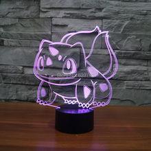 Free Ship Color changing Flashing Pokemon Go Bulbasaur Arcylic 3D LED Night Light touch sensitive USB Lamp