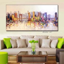 Whosale Hand-Painted modern Cityscape Oil Painting Golden Bridge  Canvas painting Statue of Liberty picture for home decoration