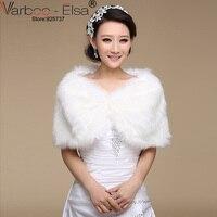 VARBOO ELSA Winter Wedding Bridal Jacket 2017 Warm Ivory Faux Fur Wedding Bolero Bridal Short Shawl