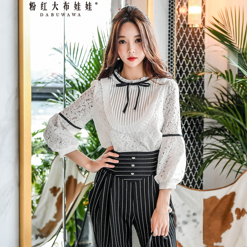 Dabuwawa Women's Autumn Long Sleeve Lace Blouse New Romantic White Lace-up Shirt Puff Sleeve Hollow out Lady Top