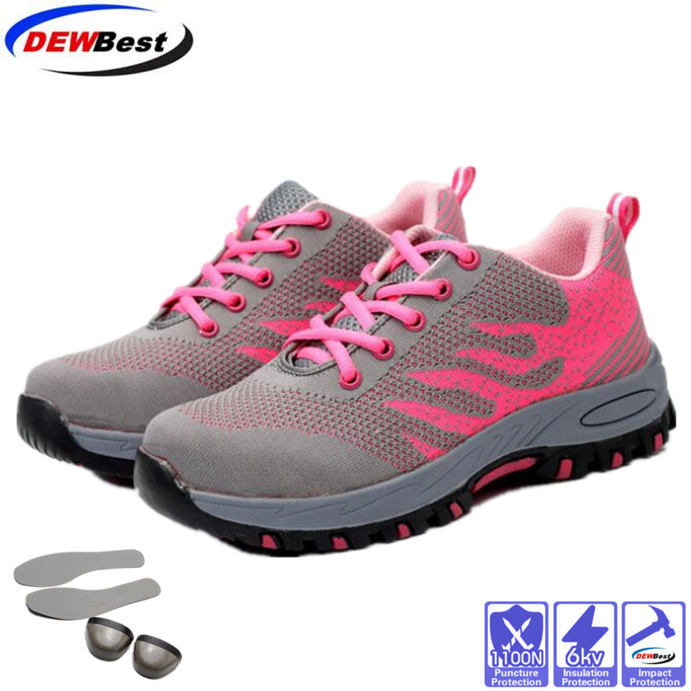 Steel Toe Safety Shoes Women Summer Breathable Mesh Industrial & Construction Puncture Proof Work Shoes Protective Footwear