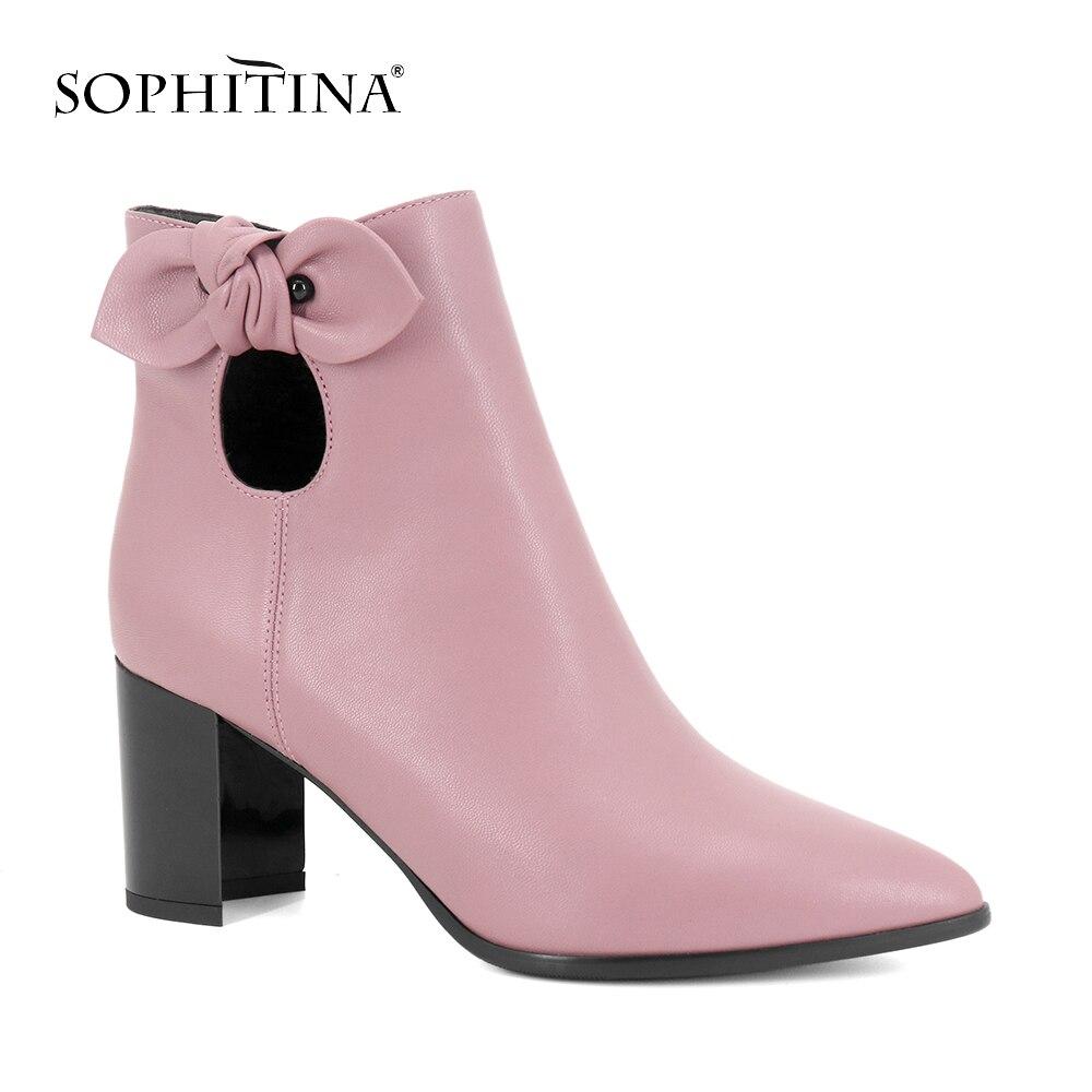 SOPHITINA Main Femme Bottines En Cuir Véritable Confortable Talons chaussures De Luxe en peau de Mouton Sexy Bout Pointu Cheville Boot Chaud B81