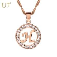 Ожерелье с инициалом u7 ожерелье цвета розового золота кулон