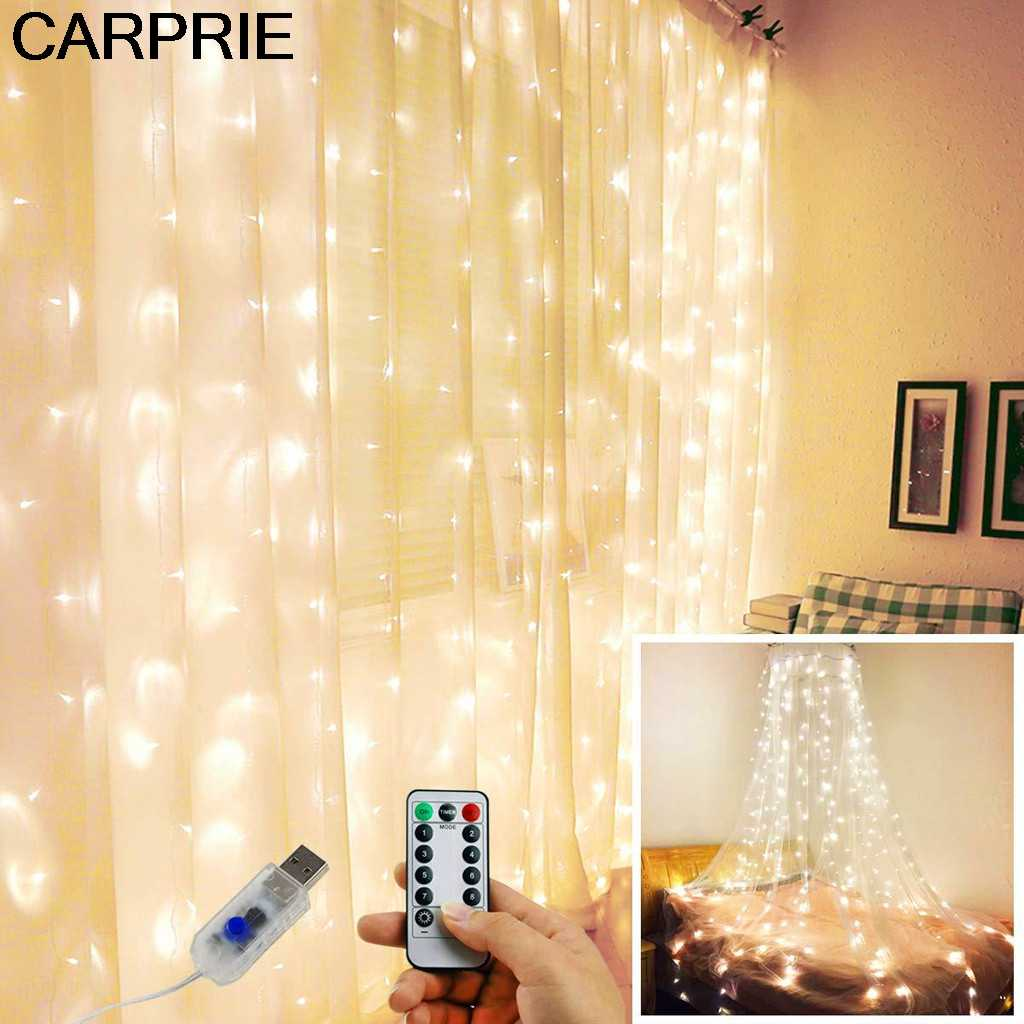 CARPRIE Curtain Stripe Lights 300LED 8 Modes Warm White Fairy String Lights Decor Creative Gifts Convenient Lightweight Products