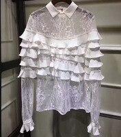 Женские кружевные блузки белая рубашка для женщин, удивительные шелковые оборки дизайн блуза, элегантные женские блузки Топы Офис тонкий п