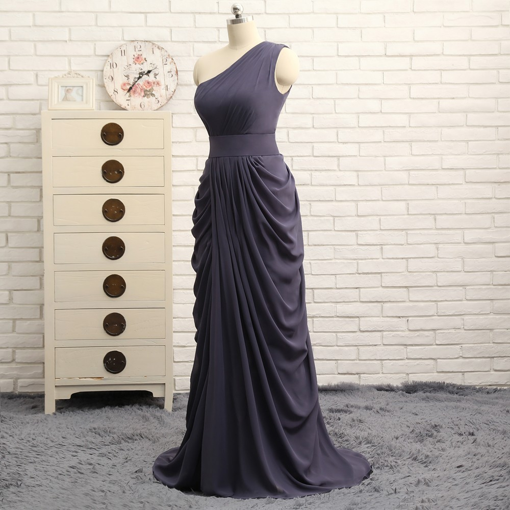 A-line One-shoulder Gray Chiffon Pleated Long Bridesmaid Dress