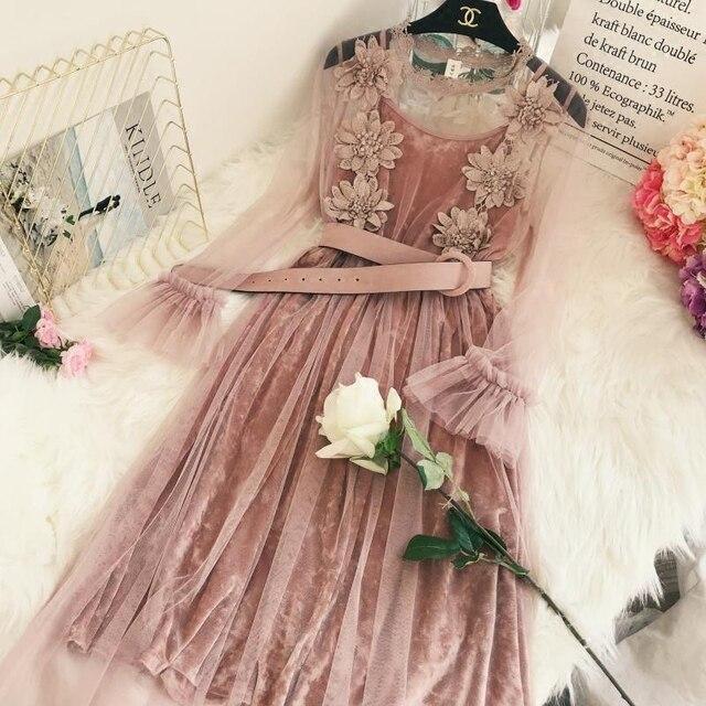 adfca530b70 2018 New Fashion Spring Women s Elegant Velvet Stereo Flower Gauze Lace  Dress Sweet Lady Girls Long
